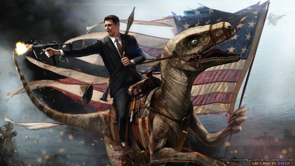 Ronald Reagan on a velociraptor