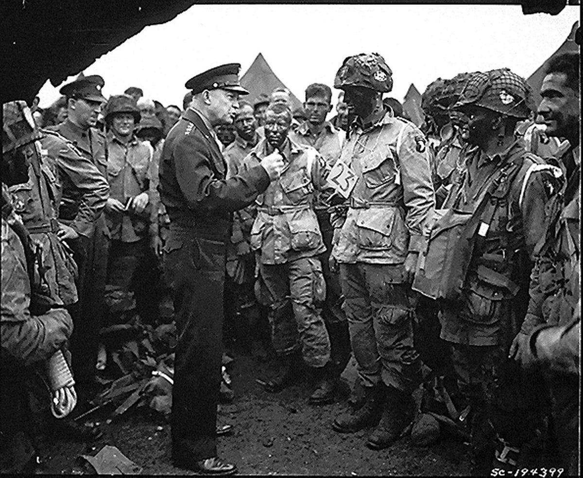 Eisenhower talks to troops, June 6, 1944
