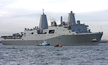 The Navy vessel built from steel from the wreckage of the World Trade Center