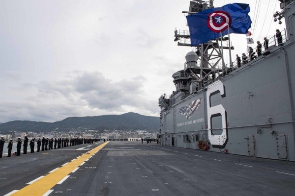 We salute the USS America for rocking a Captain America flag at sea