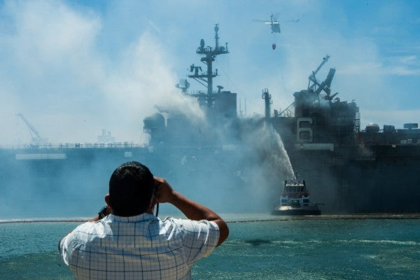 USS Bonhomme Richard, its fate uncertain, would be one of largest ships Navy has lost outside of combat