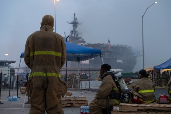 Hundreds of sailors fight to save USS Bonhomme Richard as blaze tears through stricken warship