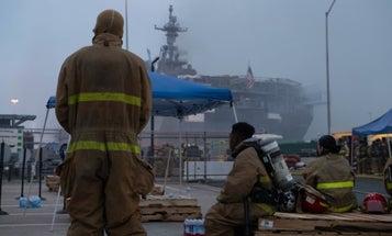 Hundreds of sailors fight to save USS Bonhomme Richard as blaze tears through stricken warship