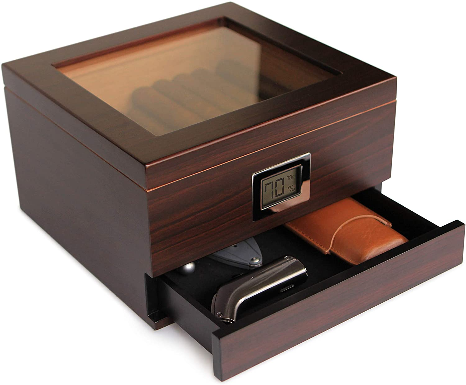 Case Elegance glass-topped humidor