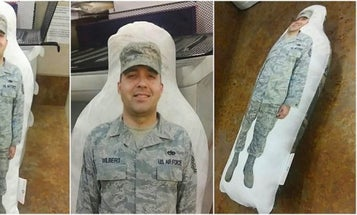 The Heartwarming Story Behind This Life-Sized Body Pillow Of An Airman