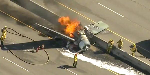 World War II-Era Plane Crash-Lands Onto California Highway