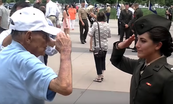 'Permission To Hug Granted' — Marine Officer Gets First Salute From Grandfather