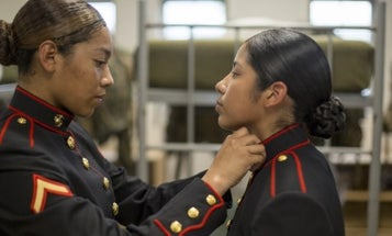 Female Marines First To Graduate Boot Camp Wearing New Dress Blue Coat
