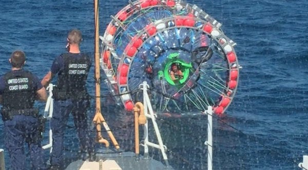 Coast Guard Rescues Man Running In An Inflatable Bubble … Again
