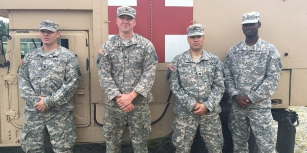 National Guardsmen On Routine Training Mission Find Elderly Woman Lost In Woods