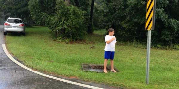 Boy Stands To Salute Veteran's Funeral Procession, And Brings A Widow To Tears