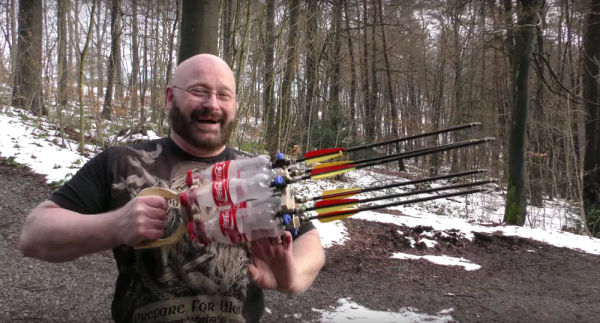 This Crazy German Guy Made A Gatling Launcher For Arrows Out Of Coke Bottles