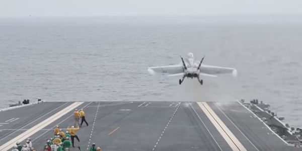 Watch The Navy's Newest Carrier Launch Its First Aircraft With That High-Tech Catapult System