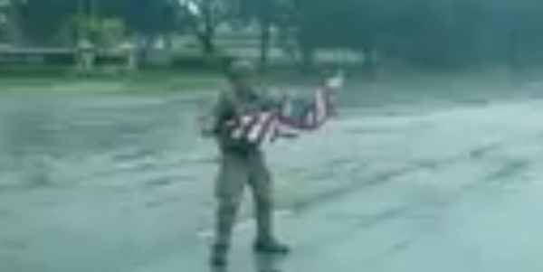 Hero Patriot Risks It All To Rescue Fallen American Flag During Irma