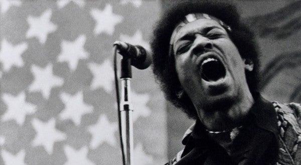 Jimi Hendrix performs at Golden Bear raceway in Sacramento, California on April 26, 1970.