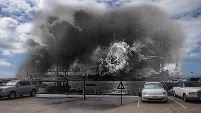 Incredible photos show present-day Pearl Harbor compared with the day of the attack