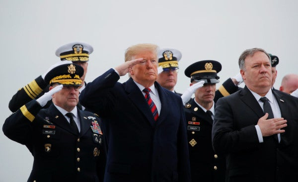 Trump Travels To Dover Air Base To Honor 4 Americans Who Died In Syria