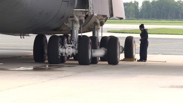 A C-5M Super Galaxy Made A Daring Landing With Its Nose Gear Up At Travis Air Force Base