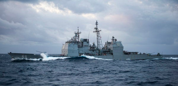 Navy guided missile cruiser, resupply vessel involved in minor wreck off of Florida