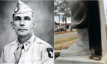 Vandals tried to burn a statue of a Confederate general. They got the founder of the US Army Airborne instead