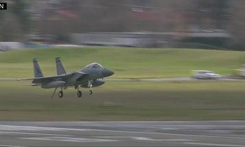 An Oregon Air Guard F-15 reportedly took a million-dollar munitions dump before an emergency landing