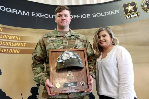 A soldier was reunited with his battered helmet 6 months after it saved his life during an insider attack