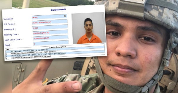 The soldier who allegedly took an APC joy ride through Virginia is now accused of violating his bond