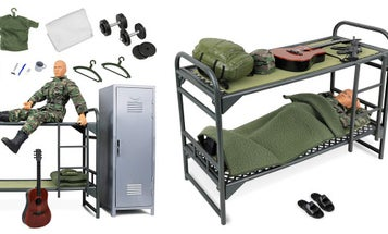 The most realistic toy about Army life ever made is this set with a soldier bored as hell in the barracks