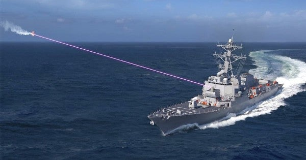 The Navy wants to mount a powerful new laser on a destroyer to 'burn the boats'