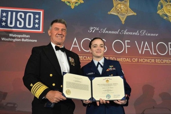 Coastie receives heroism medal for shielding others from fire and providing medical aid during Las Vegas shooting