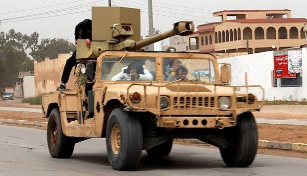 A Libyan militia rigged a Humvee with a monster 90mm cannon