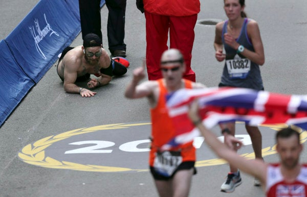 We salute the Marine who crawled across the Boston Marathon finish line to honor his fallen comrades