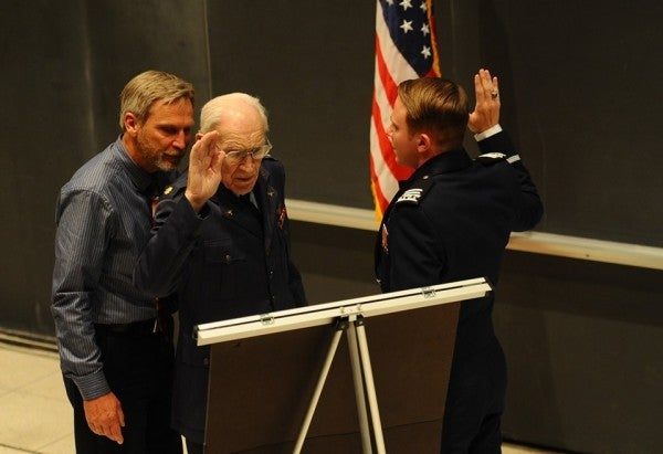 A 101-year-old World War II vet just commissioned his grandson into the Air Force