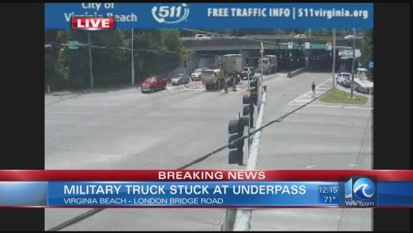This Army truck driver apparently decided overpass height requirements simply don't apply to them