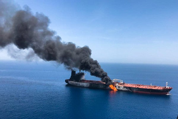 Two oil tankers attacked in the Gulf of Oman