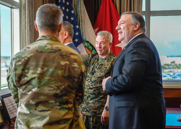 'We are there to deter aggression' — Pompeo addressed CENTCOM on Iran mere moments before Shanahan announced his departure
