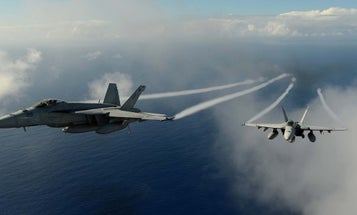 Watch 2 US Navy Super Hornets 'buzz the tower' on the set of the new 'Top Gun' movie