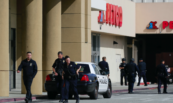 Two soldiers jumped into action to save two teenage victims in a mall shooting