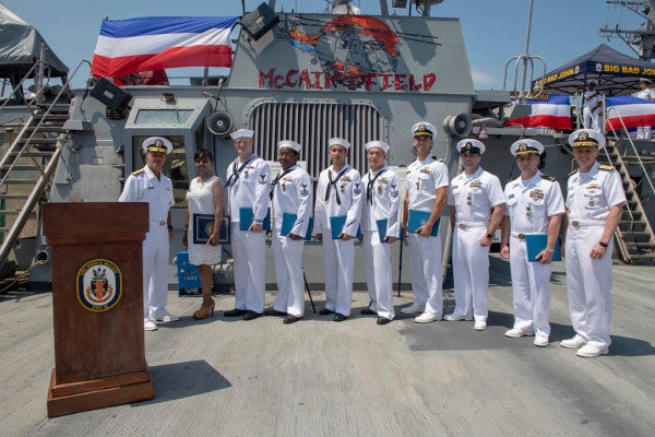 50 sailors on USS John S. McCain honored for their bravery during 2017 collision