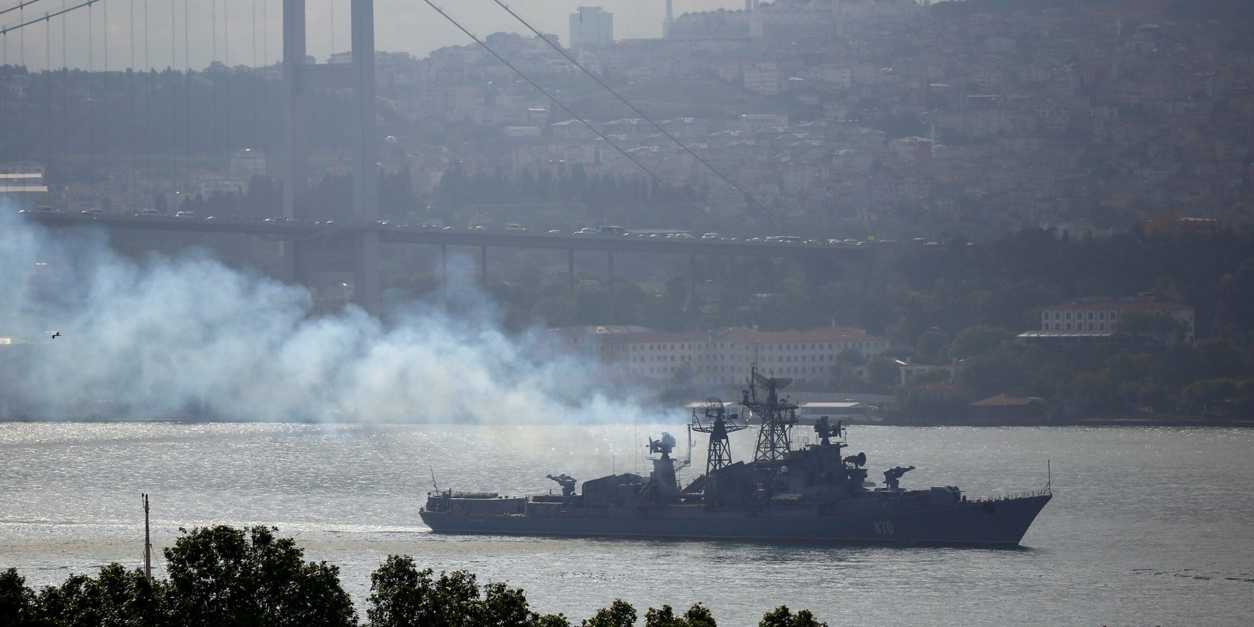 A Russian destroyer allegedly sailed into the line of fire during multinational shooting drills in the Black Sea