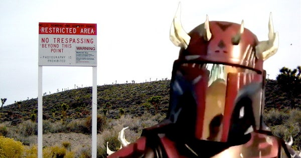 The Air Force is on guard against potential Area 51 intruders like this hero in custom Boba Fett armor and his love of 'clapping alien asscheeks'
