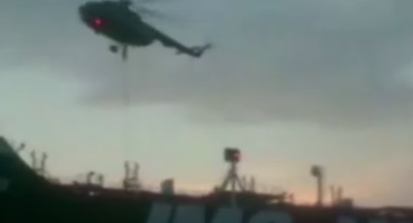 Video shows masked Iranian commandos rappelling onto British tanker in Strait of Hormuz