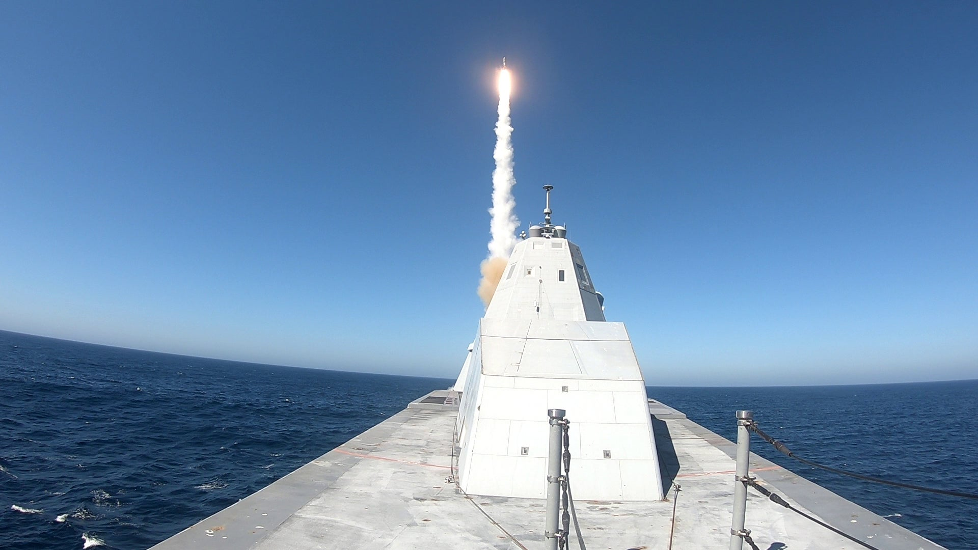 Watch the Navy's beleaguered new stealth destroyer finally loose off a missile for the first time