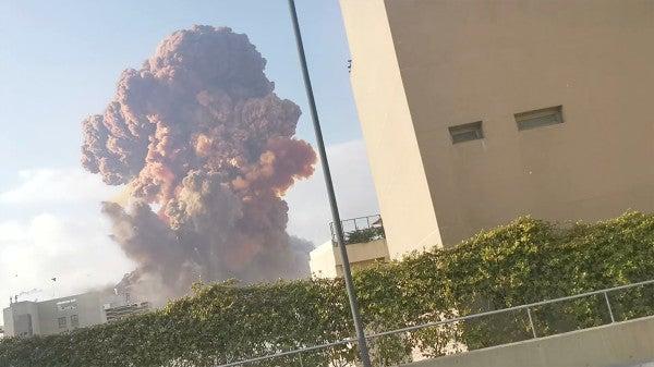 Video shows massive explosion rocking Beirut's port area