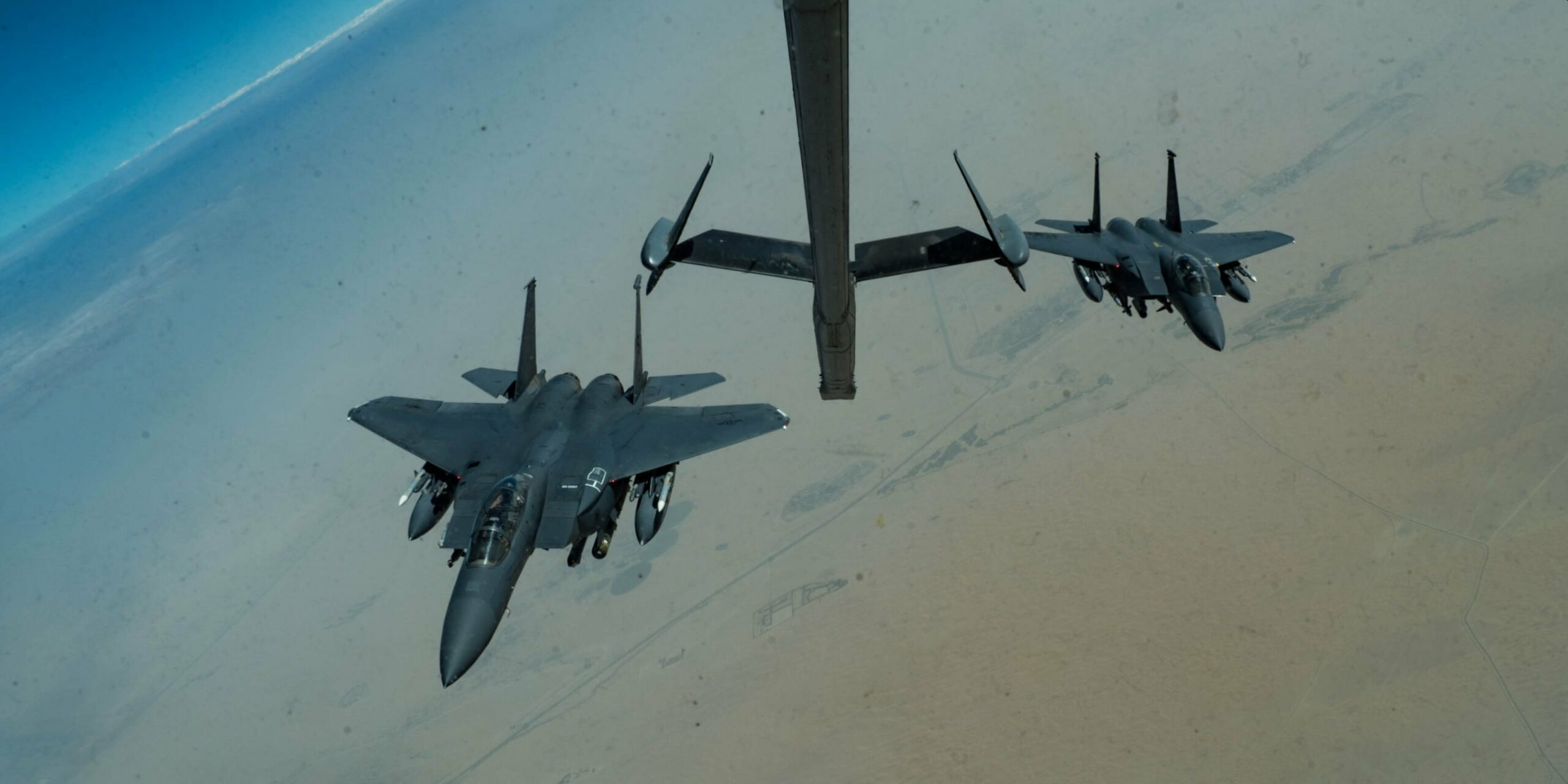 Air Force F-15 fighter jets are patrolling the Persian Gulf with cluster bombs to counter Iran's gunboat swarms