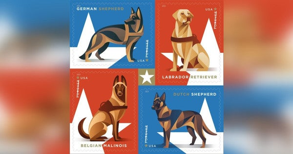 The US Postal Service is honoring military working dogs with new 'forever' stamp