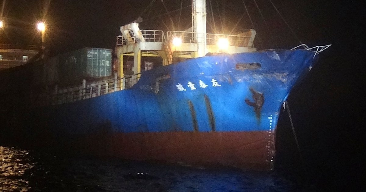 Taiwan says a Chinese warship slammed into one of its cargo ships and then sailed off into the night