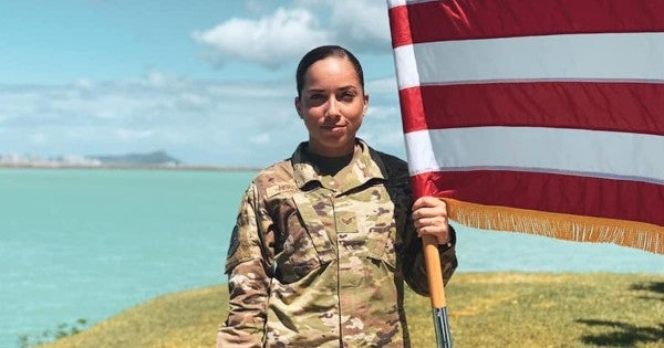 A senior airman says she was accosted for speaking Spanish while in uniform