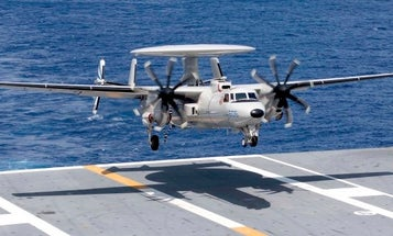 An E-2D Hawkeye took out 4 Super Hornets during a botched carrier landing in the Arabian Sea