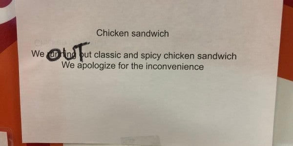 Disaster strikes the Pentagon as Popeyes runs out of chicken sandwiches